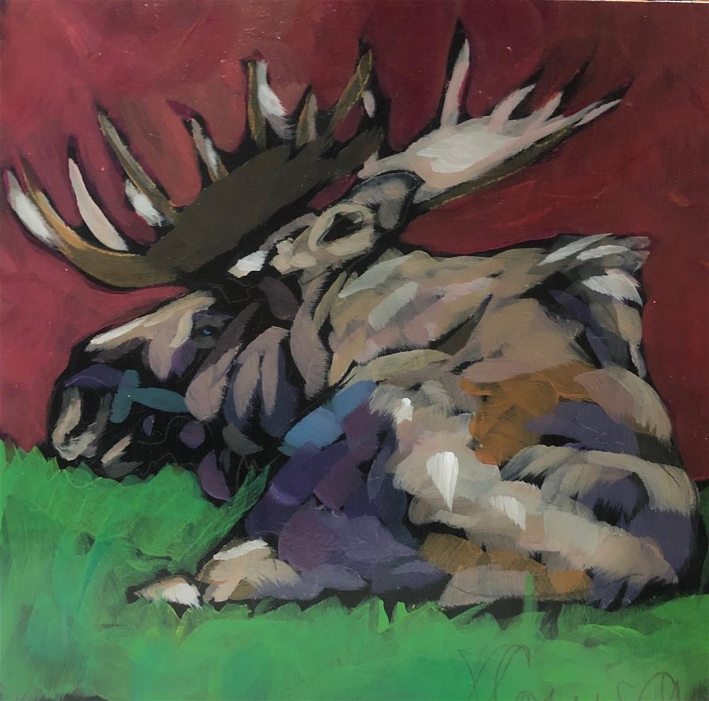 """A Moose on Red"" original fine art by Kat Corrigan"