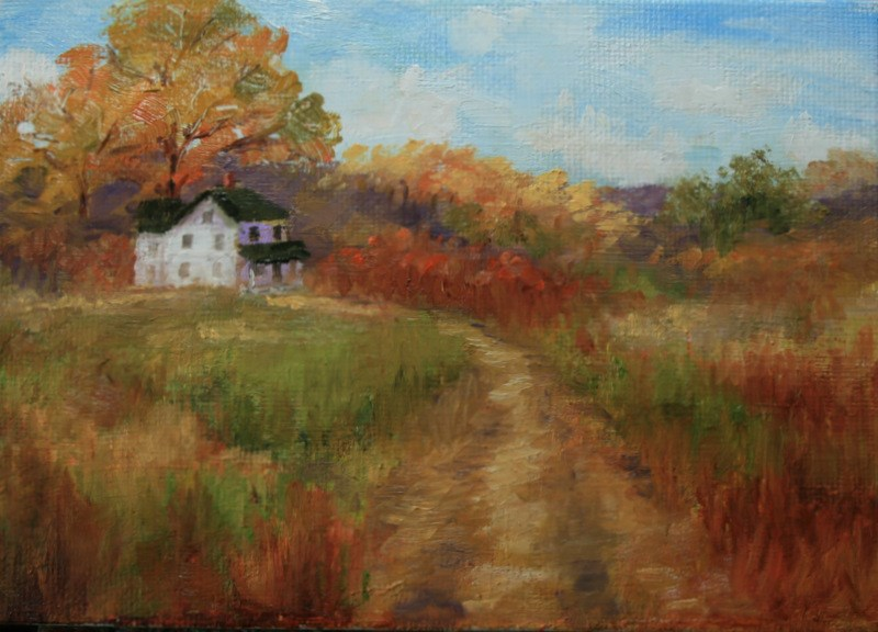 """""""Autumn Country Road"""" original fine art by Jean Nelson"""