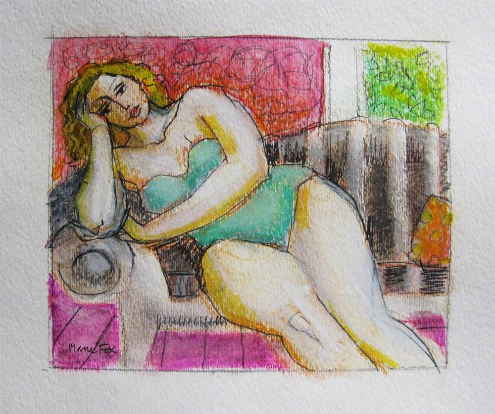 """""""Daydreaming, figurative painting, figure drawing, contemporary figure painters, woman, figuration"""" original fine art by Marie Fox"""