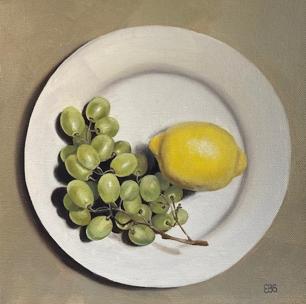"""Grapes and Lemon"" original fine art by Elaine Brady Smith"