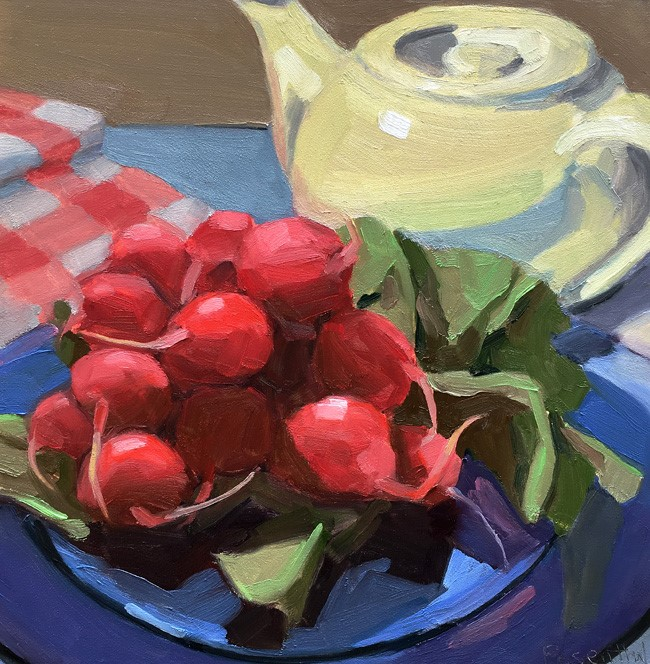"""Radishes and White Teapot"" original fine art by Robin Rosenthal"