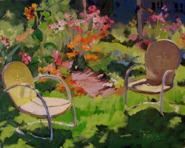 """Garden Chairs  oil, plein air, garden painting."" original fine art by Robin Weiss"