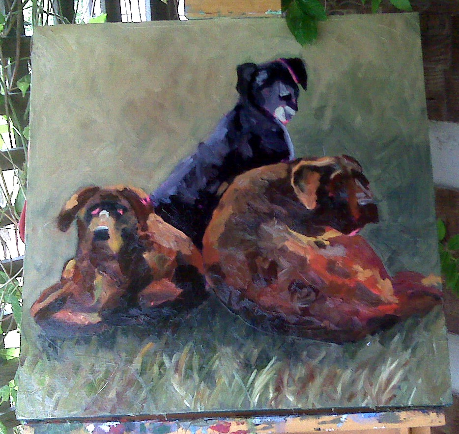 """Triple Trouble-Work in Progress"" original fine art by Kristen Dukat"
