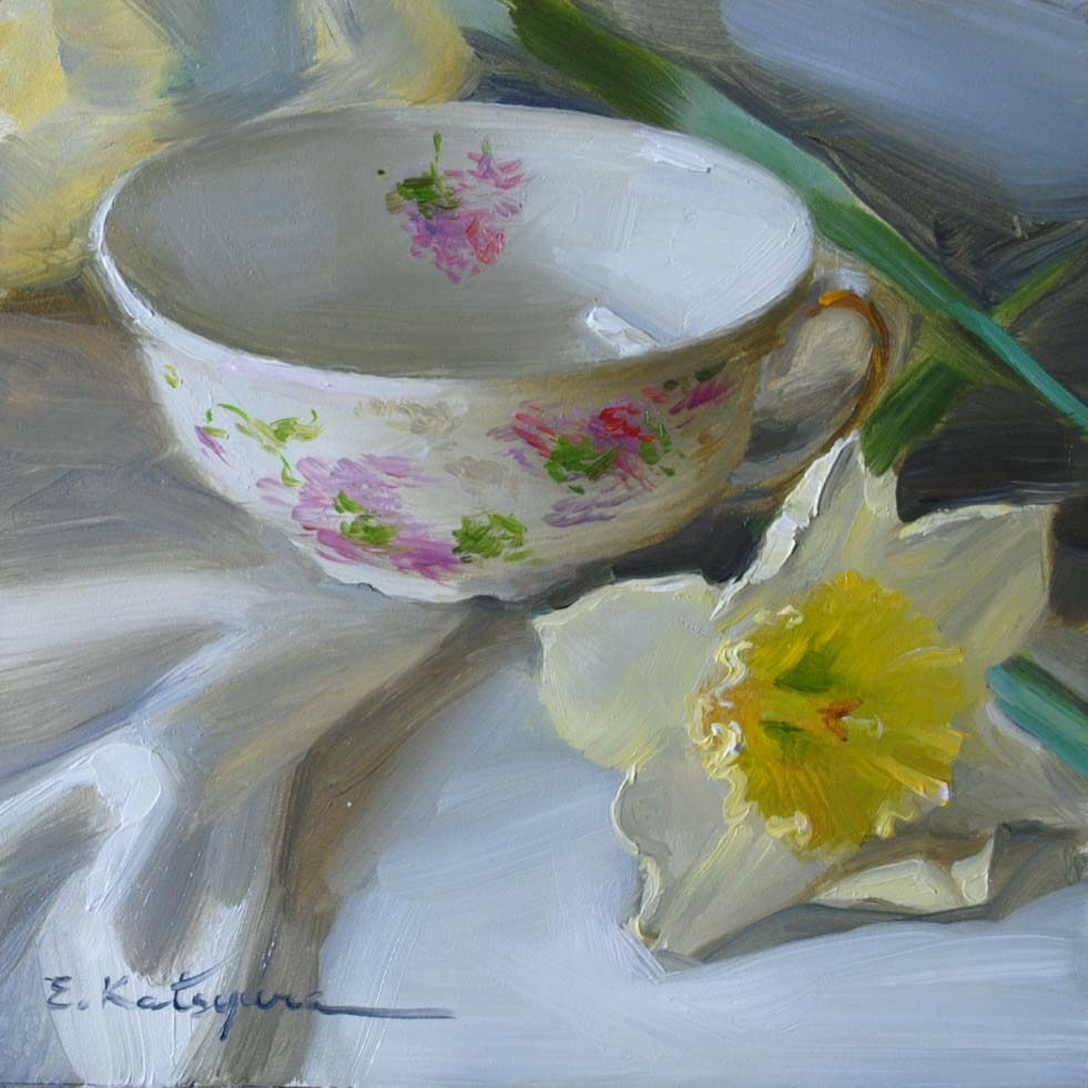 """Teacup and Daffodils"" original fine art by Elena Katsyura"