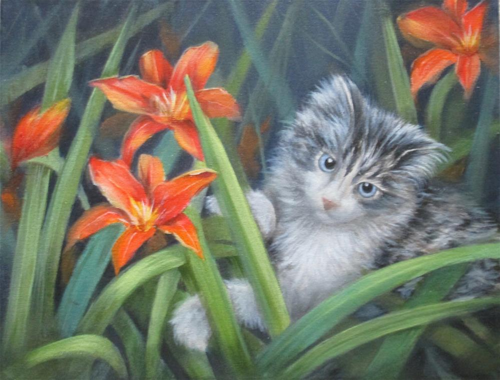 """""""Kitty in the Lillies"""" original fine art by Barbara Wagner"""