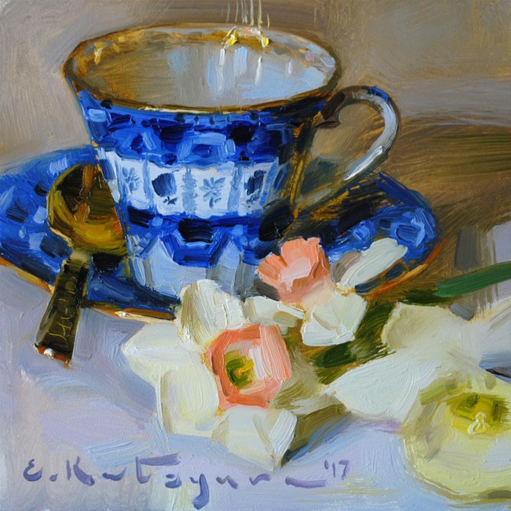 """Cobalt Cup and Daffodils"" original fine art by Elena Katsyura"