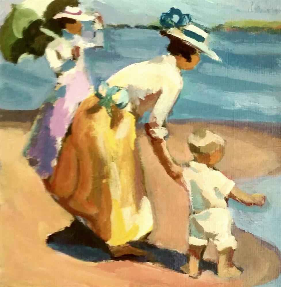 """At the Beach after Potthast"" original fine art by Liz Maynes"