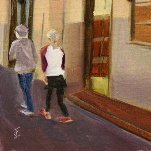 """Santa Fe Stroll Buddies"" original fine art by Jane Frederick"