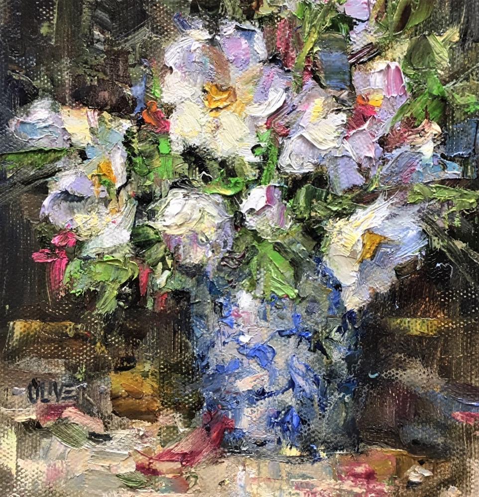 """White Flowers And Porcelain"" original fine art by Julie Ford Oliver"