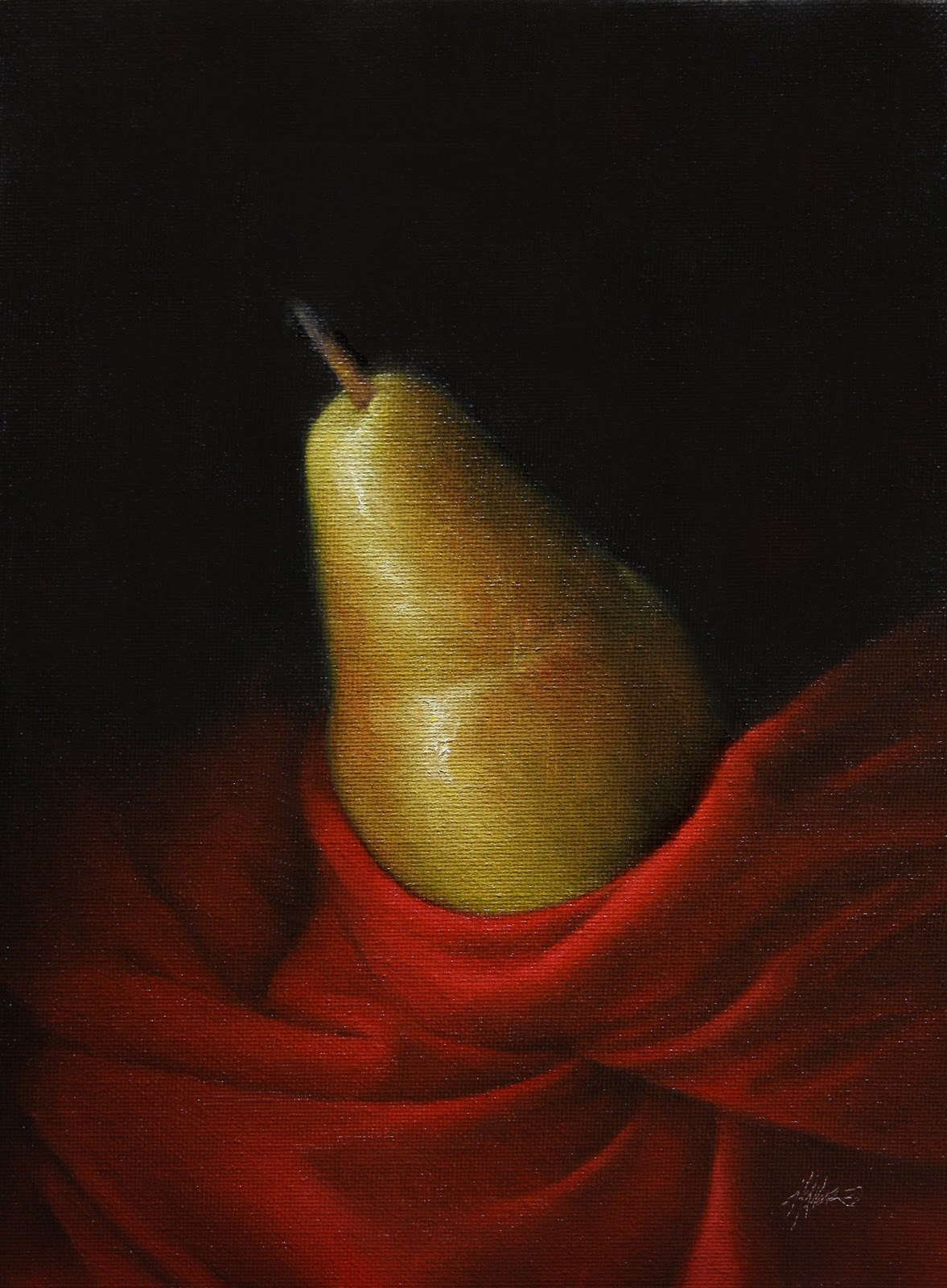 """""""Pear in Red"""" original fine art by Jonathan Aller"""