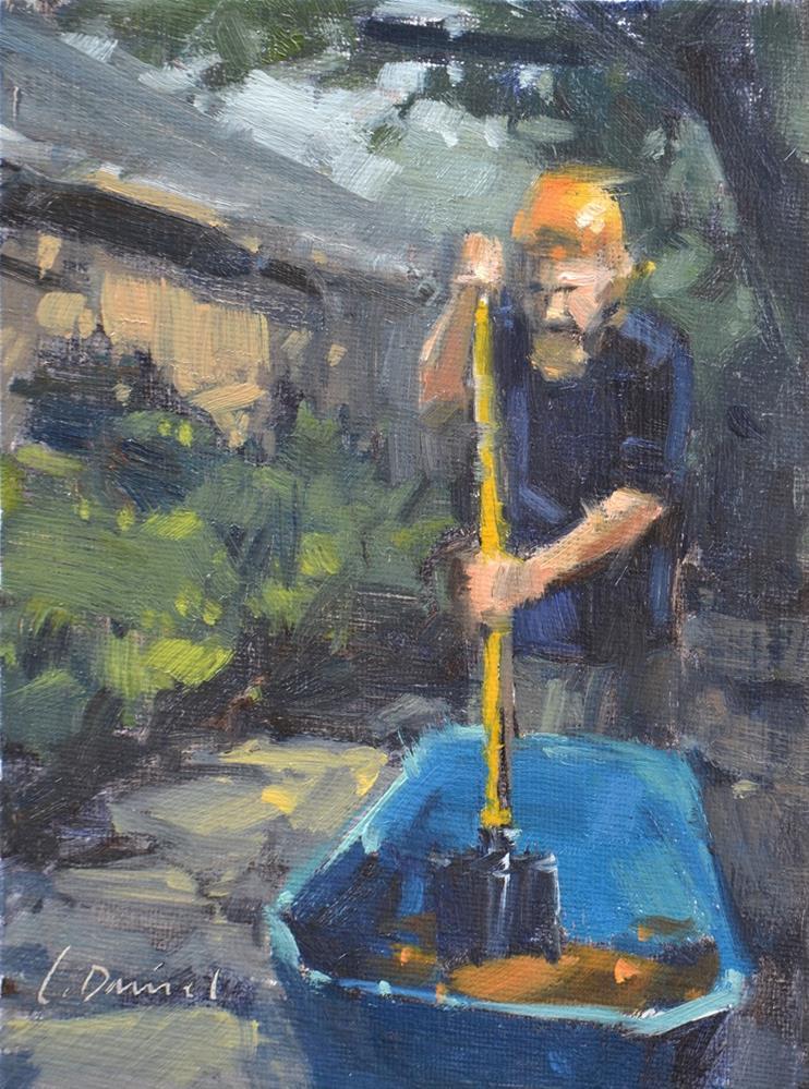 """The Mixer - men at work"" original fine art by Laurel Daniel"