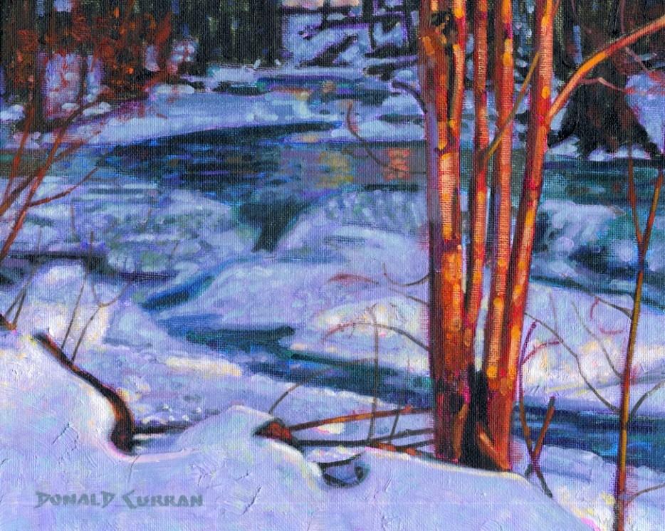 """Winter Stream"" original fine art by Donald Curran"
