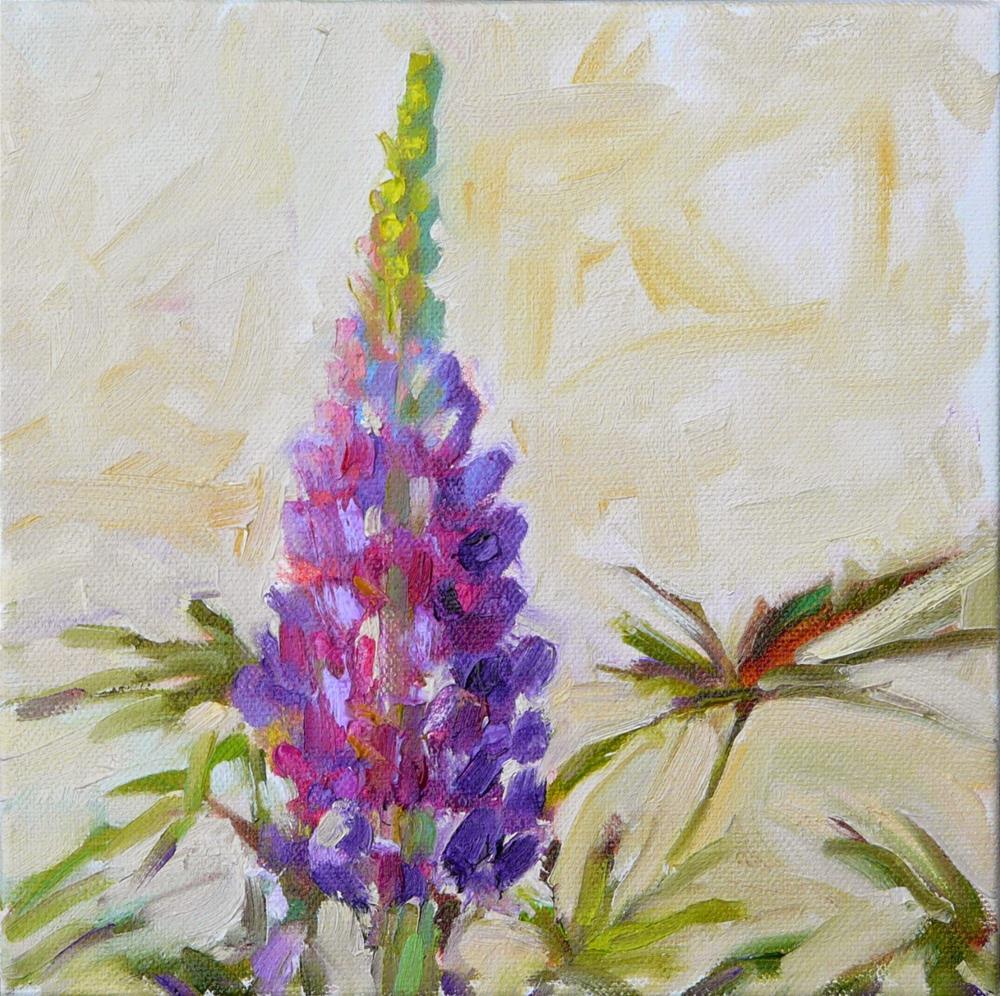 """First Lupine,still life,oil on canvas,8x8,price$200"" original fine art by Joy Olney"