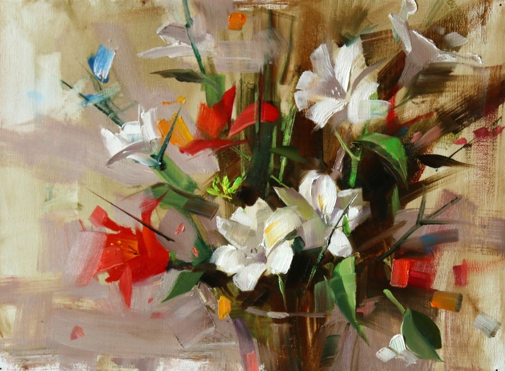 """Flowers in Cary"" original fine art by Qiang Huang"