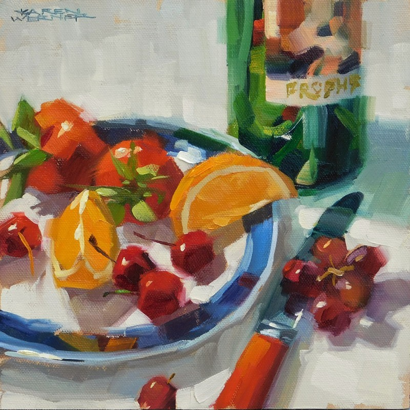 """Fruit & Wine"" original fine art by Karen Werner"