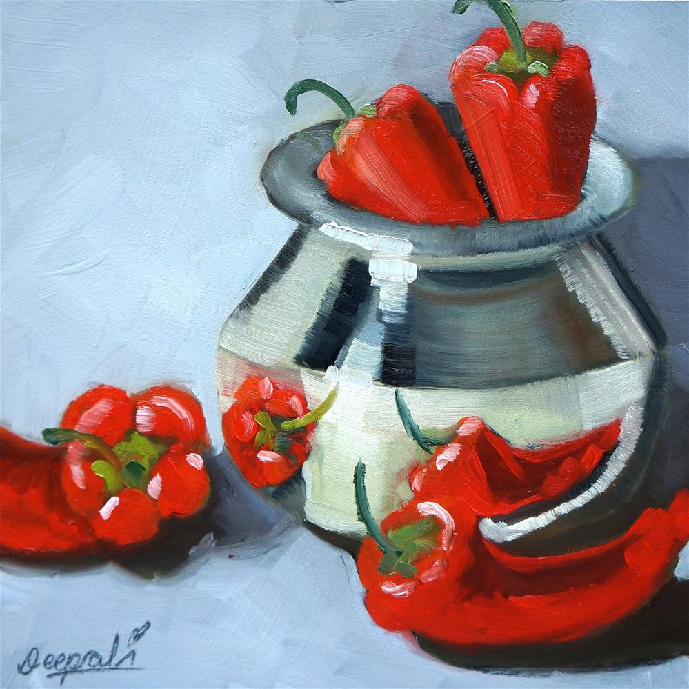 """Red peppers with pot"" original fine art by Dipali Rabadiya"