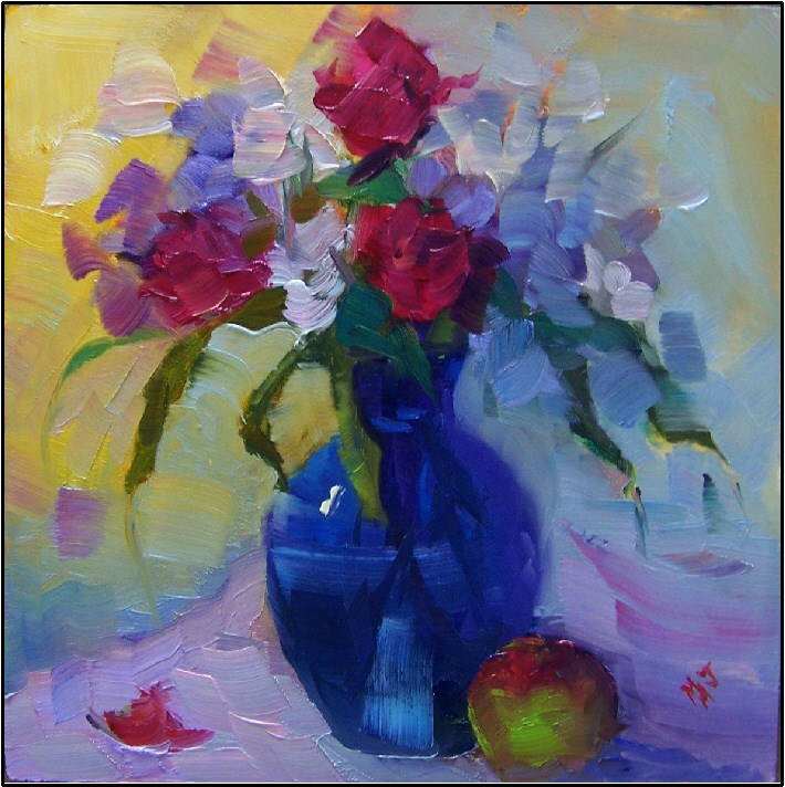 """""""That's Amore, 6x6, oil on panel-small still life, roses, apple, love, by maryanne jacobsen"""" original fine art by Maryanne Jacobsen"""