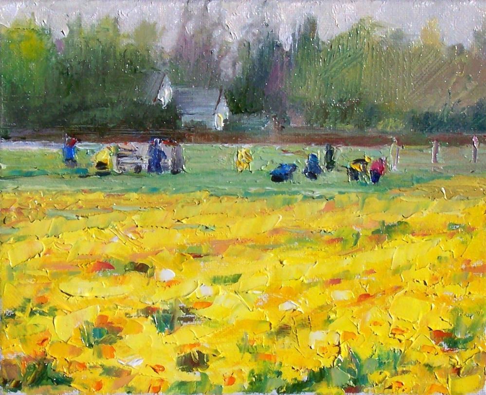 """Spring Daffodils,landscape,oil on canvas,8x10.price$300"" original fine art by Joy Olney"
