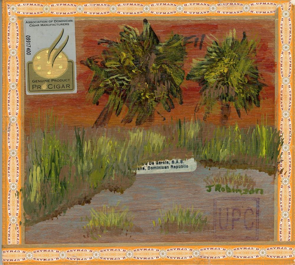 """Cigarbox Palms"" original fine art by Judy Robinson"