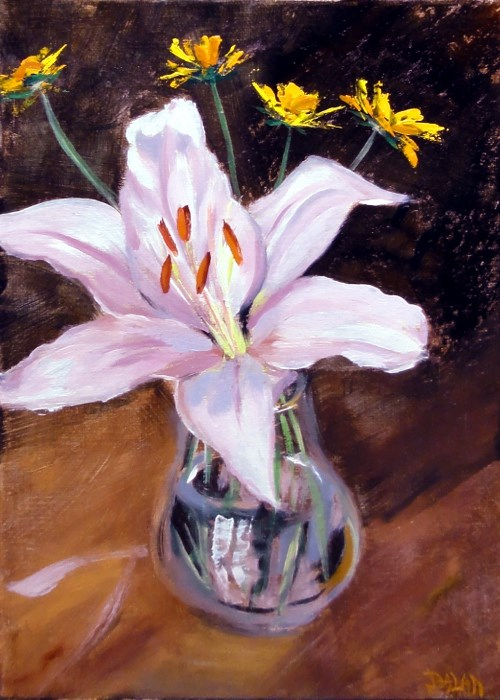 """""""Single Lily With Coreopsis"""" original fine art by Dalan Wells"""