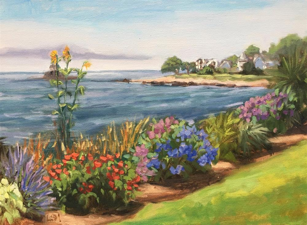 """Gardens at Owenego, Branford CT"" original fine art by Linda Marino"