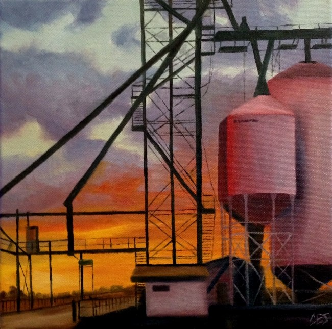 """Grain Facility Sunset"" original fine art by ~ces~ Christine E. S. Code"