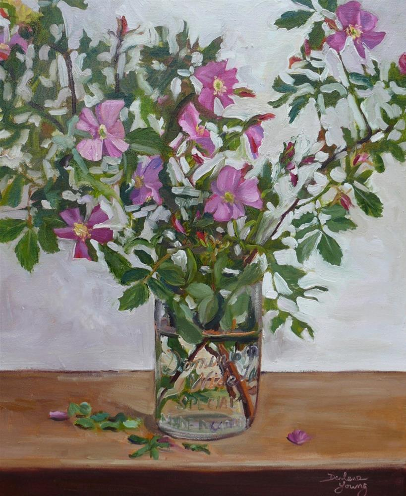 """1052 Wild Roses in a Mason Jar, 16x20, oil on canvas"" original fine art by Darlene Young"