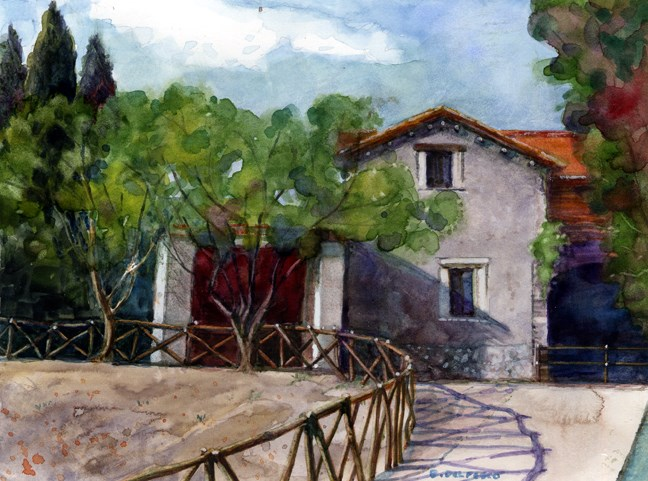 """Watercolor: Palatine Hill, Rome (& Painting Plein Air in Watercolor)"" original fine art by Belinda Del Pesco"