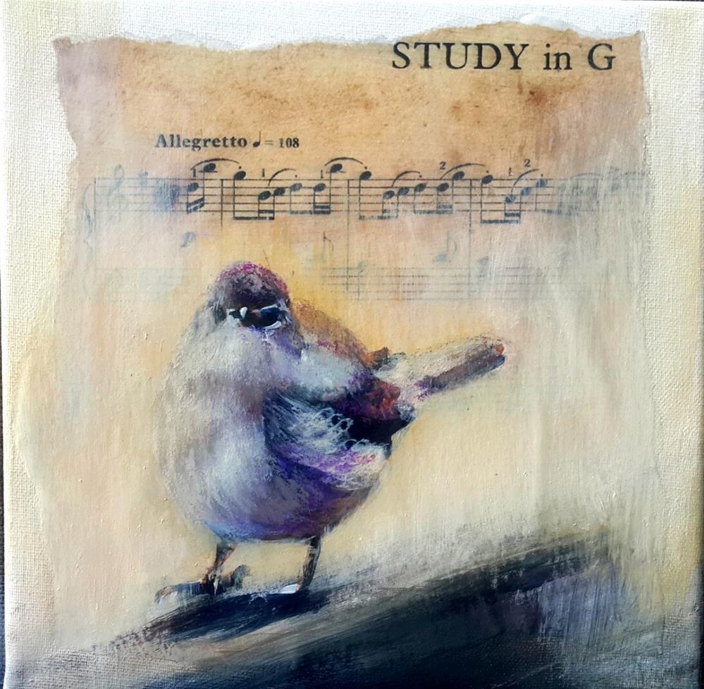 """""""Birdsong 6"""" original fine art by Rentia Coetzee"""