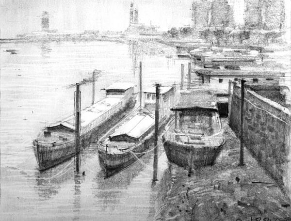 """. Foggy Morning, Chelsea Moorings (20)"" original fine art by Adebanji Alade"