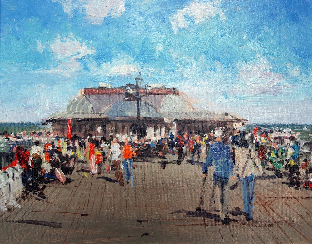 """Cromer Pier, the summer crowds"" original fine art by Adebanji Alade"