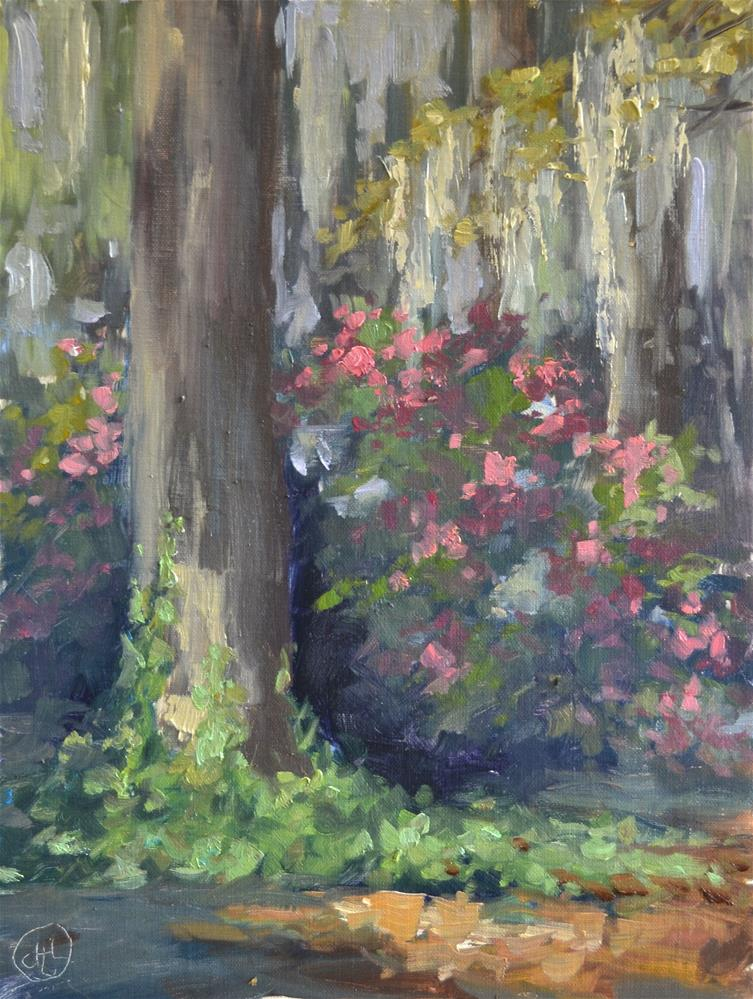 """ivy and azaleas"" original fine art by Dottie  T  Leatherwood"