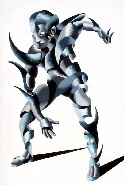 """Mark Webster - Cesar 2203 - Abstract Geometric Futurist Figurative Oil Painting"" original fine art by Mark Webster"