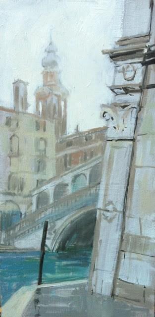 """Rialto bridge in early morning fog"" original fine art by Haidee-Jo Summers ROI"