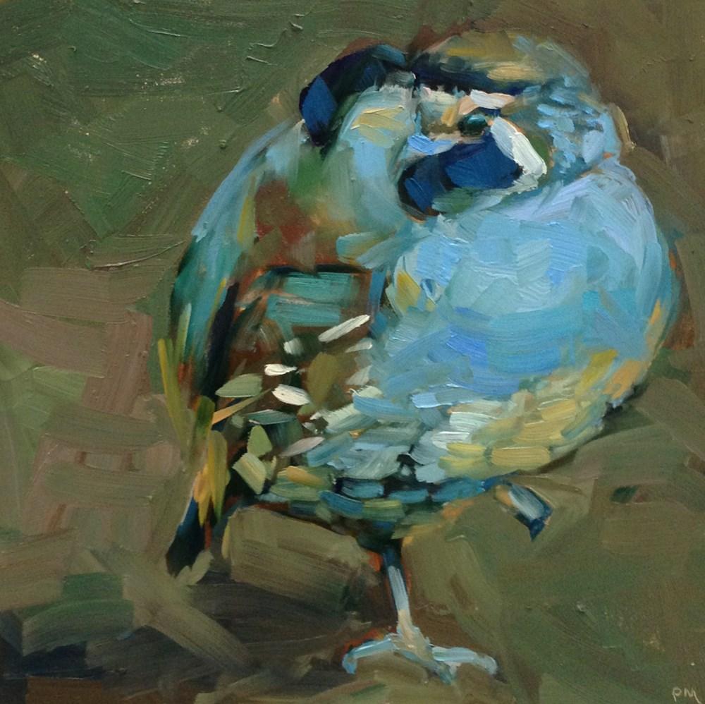 """""""Blue Suede Quail"""" original fine art by Patti McNutt"""