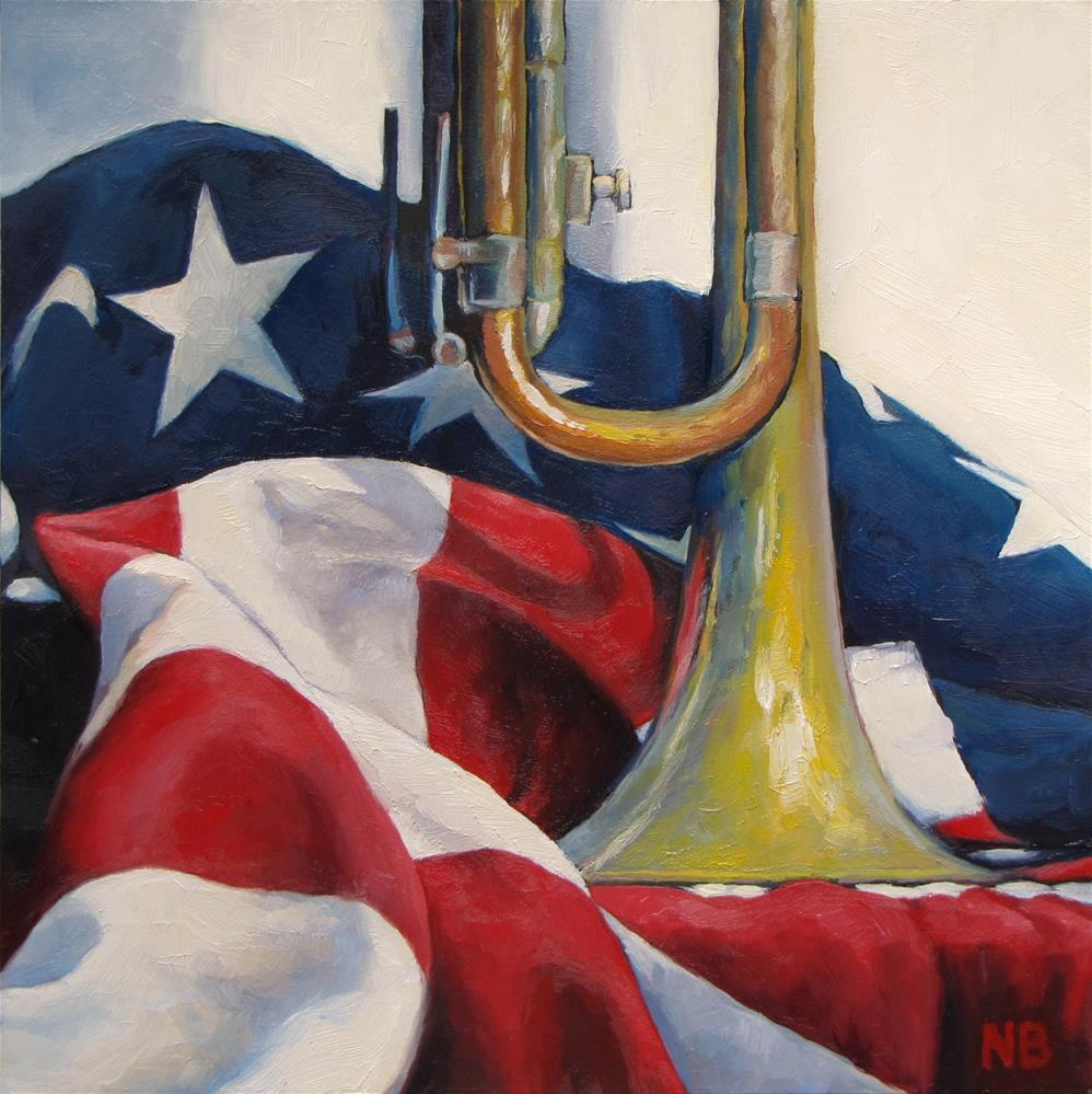 """""""Banner and Horn"""" original fine art by Nora Bergman"""