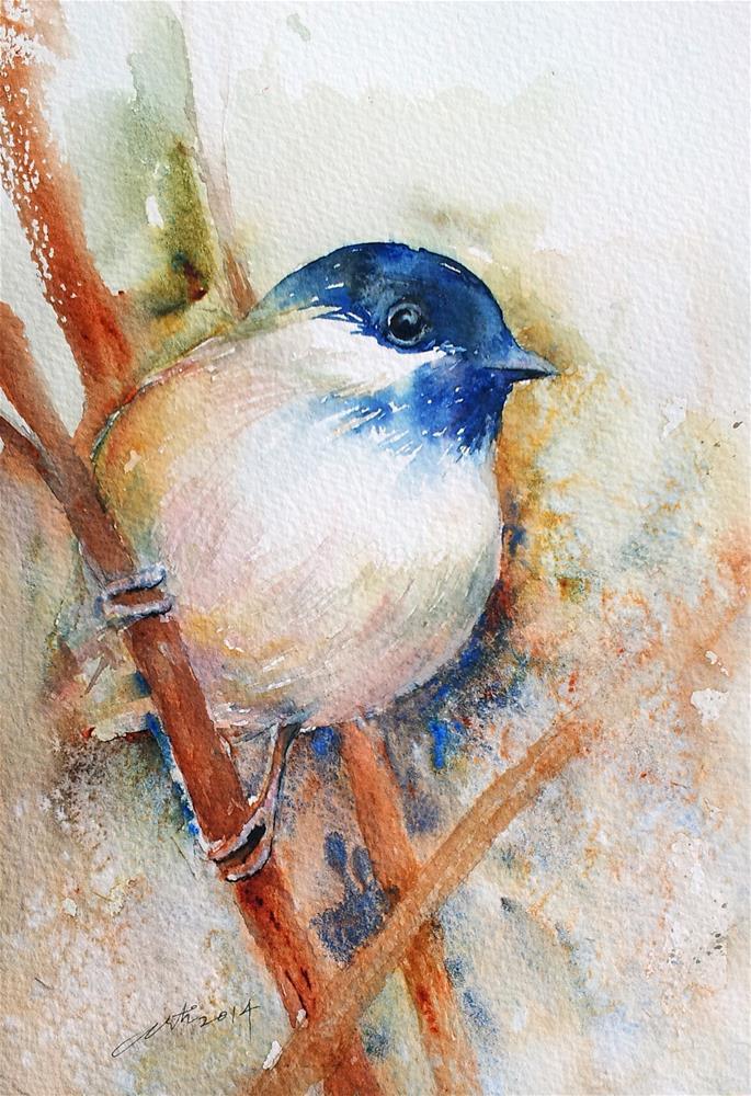"""Indigo Head Bird"" original fine art by Arti Chauhan"