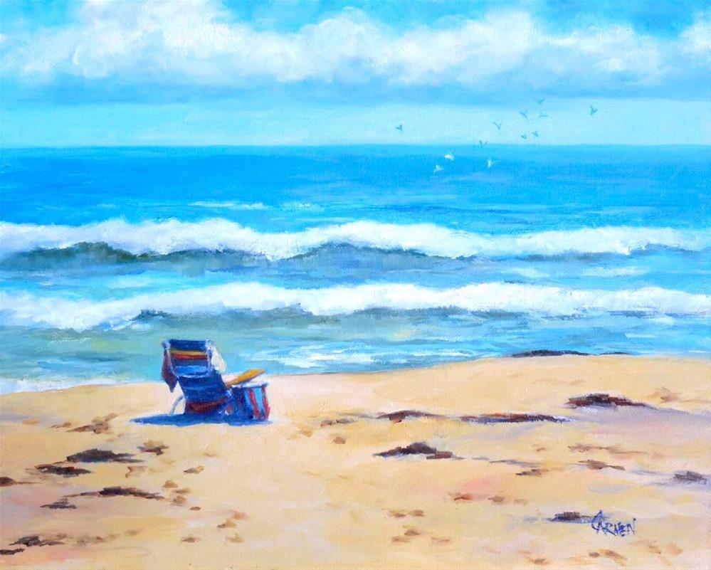 """Beach Chair, 10x8 Oil on Canvas Panel Seascape"" original fine art by Carmen Beecher"
