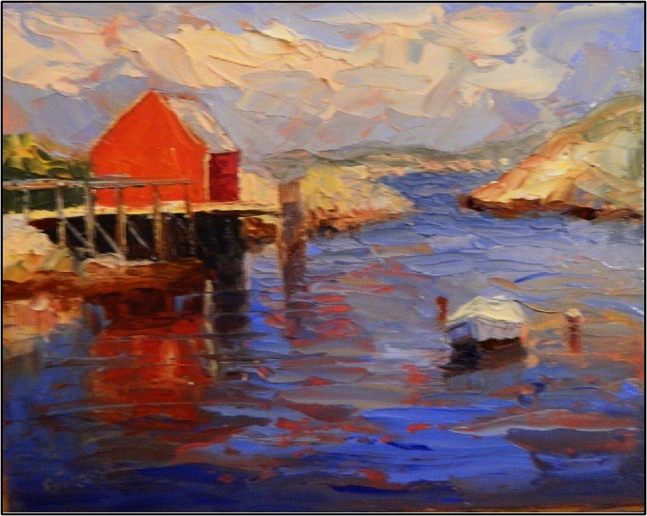 """Summer's Day-Peggy's Cove, 10x8, oil on linen-Peggy's Cove, palette knife seascapes, Nova Scotia,"" original fine art by Maryanne Jacobsen"