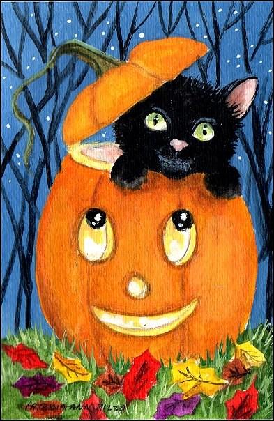 """Halloween Cat in a Pumpkin"" original fine art by Patricia Ann Rizzo"