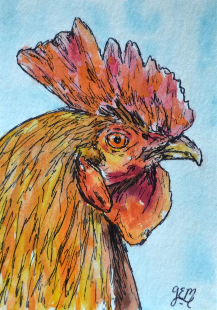 """Rooster Watercolor Aceo"" original fine art by Gloria Ester"