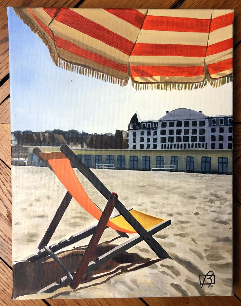 """Beach Chair Deauville"" original fine art by Andre Beaulieu"