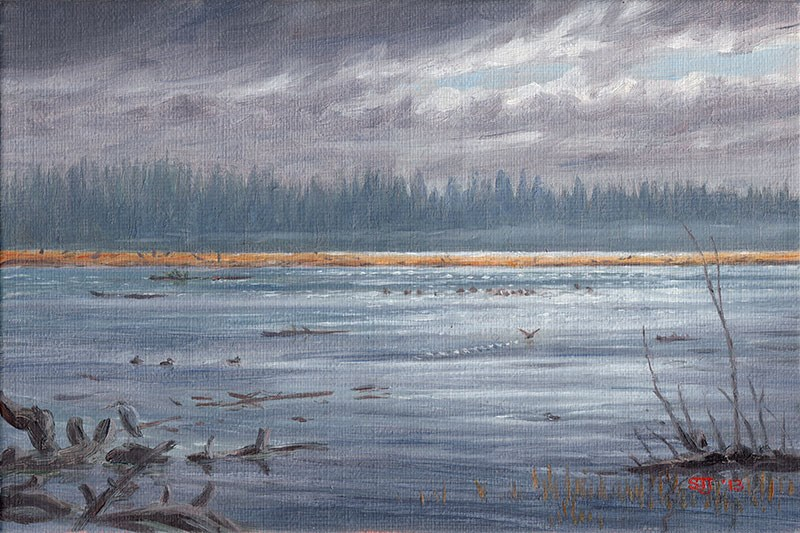 """C1508 The Turn of the Tide (Coquille River at Bandon Marsh, Oregon Coast)"" original fine art by Steven Thor Johanneson"