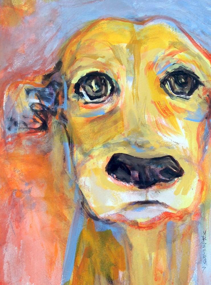 """Yellow Lab"" original fine art by Mary Schiros"