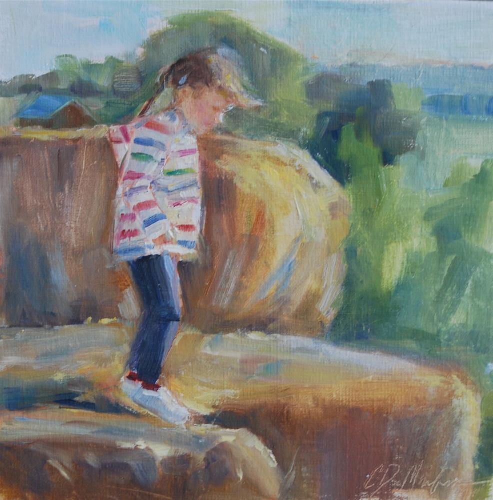"""Little Girl on Hay, Original oil by Carol DeMumbrum"" original fine art by Carol DeMumbrum"