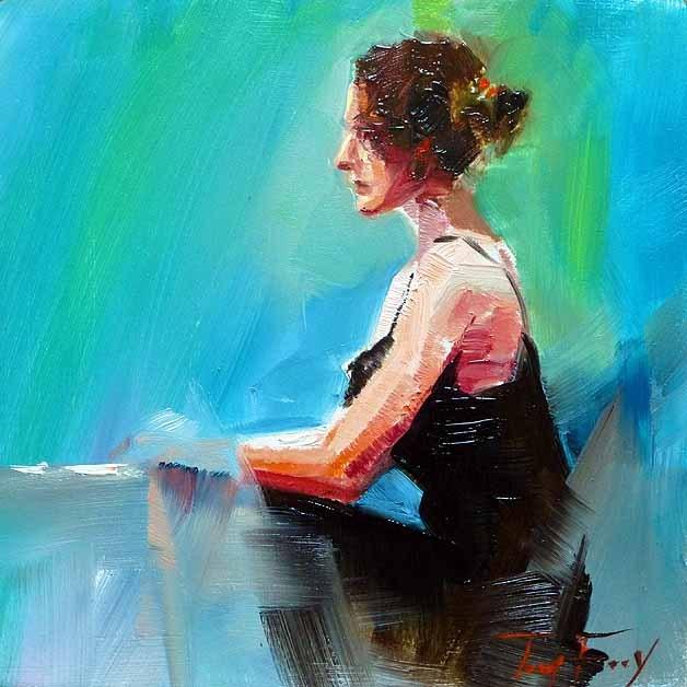 """""""wartende"""" original fine art by Jurij Frey"""