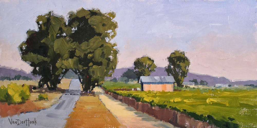 """Two for the Road - Original Oil Painting of a Farm in Sonoma County California - Farm Painting"" original fine art by Kim VanDerHoek"