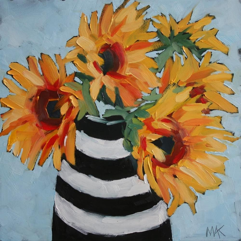 """""""Sunflowers and Stripes"""" original fine art by Mary Anne Cary"""