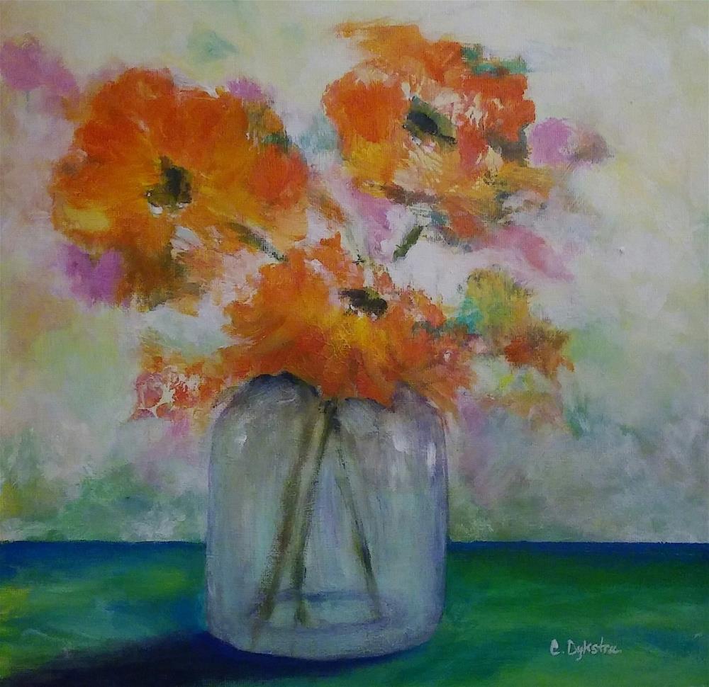 """Bright Flowers"" original fine art by Cathy Dykstra"