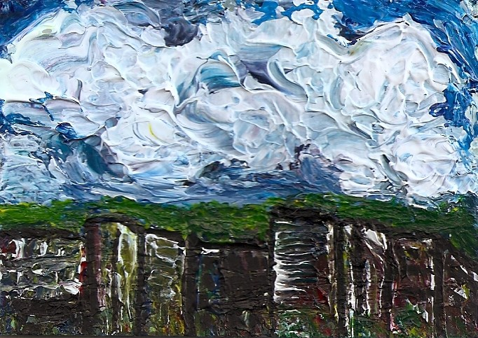 """ACEO Abstract Clouds Cityscape Impasto Palette Knife Art SFA by Penny StewArt"" original fine art by Penny Lee StewArt"